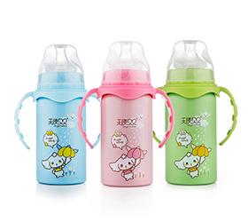 贝贝奶瓶双层不锈钢保温奶瓶带吸管手柄宽口径婴儿正品两用
