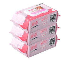 幼儿卫生湿纸巾80抽3包婴儿手口湿巾婴儿湿巾